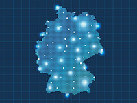 A map of the Federal Republic of Germany with several glowing dots